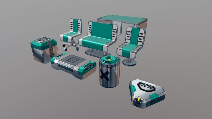 [FREE] Sci-fi furniture/props pack 3D Model