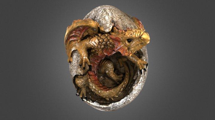 Yellow Dragon in Egg 3D Model