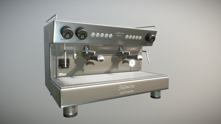 Bar coffee machine medium poly 3D Model