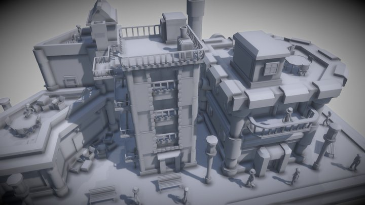 WIP2_Steampunk Cityscape 3D Model