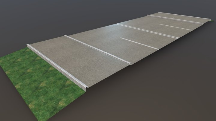 Edge Road Block Baked 3D Model