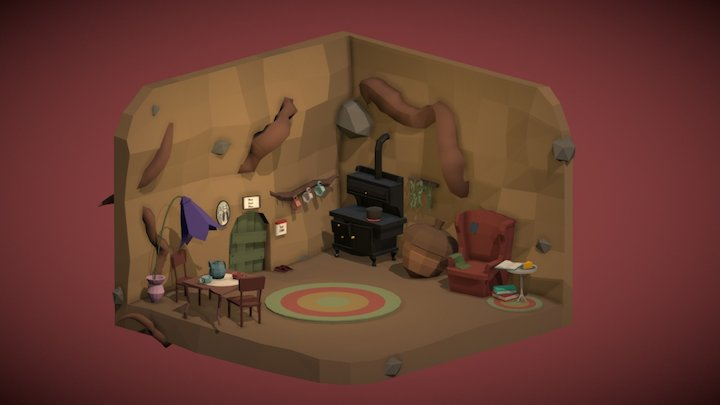 Isometric Mouse Home Lowpoly 3D Model