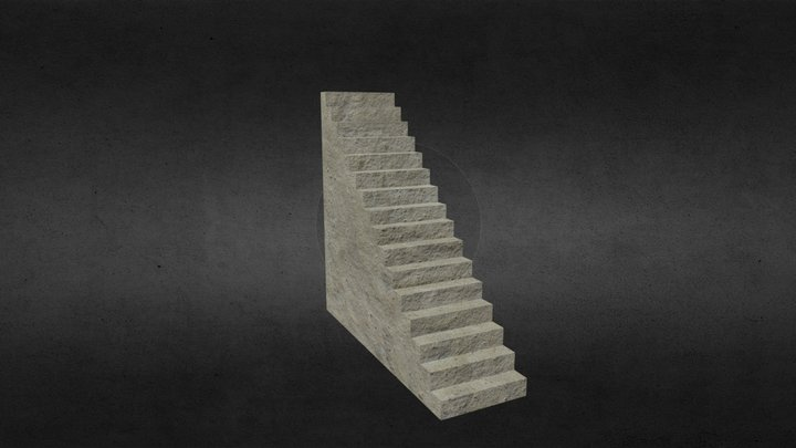 Concrete Stairs 3D Model