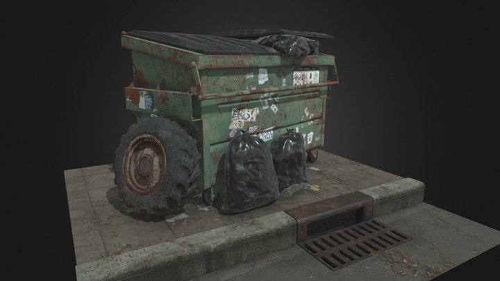 Street Corner - Dumpster and Tractor Tire 3D Model