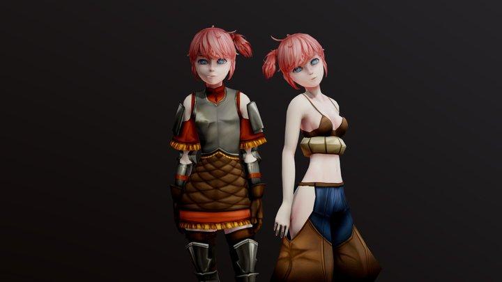 Twin Character (handpainted + sketchfab shader) 3D Model
