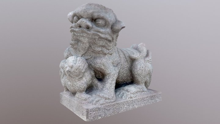 Old Chinese Guardian Lion 3D Model