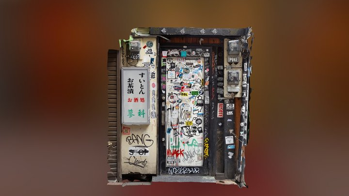 Japanese graffitied door with stickers 3D Model