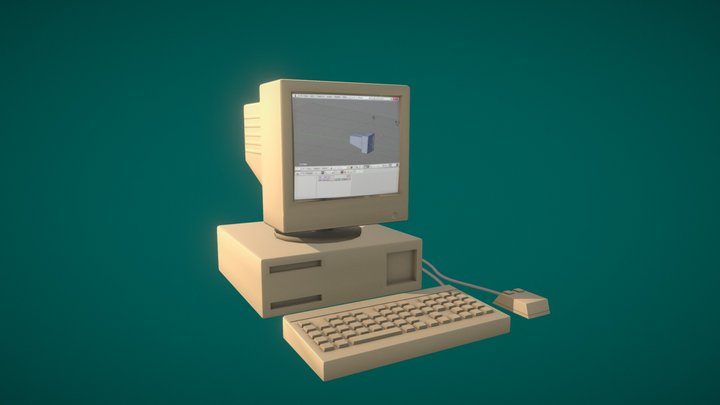 Old Stylised Computer 3D Model