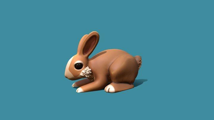 Hand Painted Rabbit 3D Model