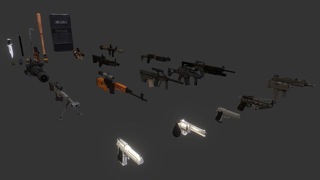 Low-poly Mobile Weapons 3D Model