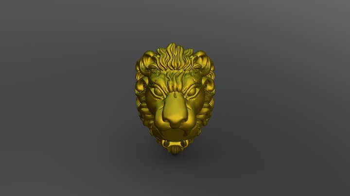 LION RING WITH GEMSTONE 3D Model