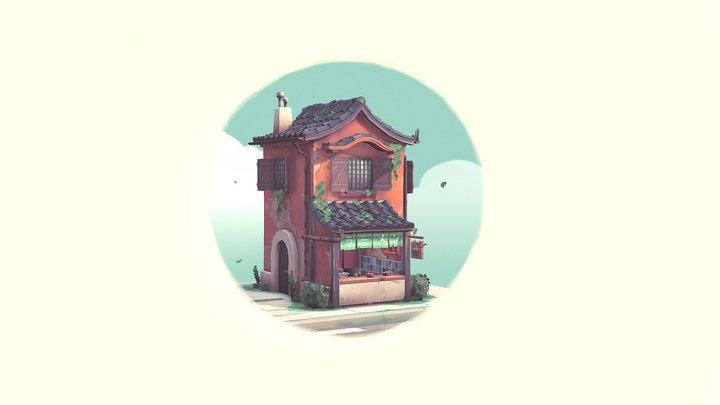 Handpainted Ramen Shop 3D Model