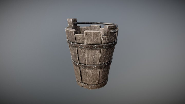 (PBR) Old Medieval Bucket 3D Model