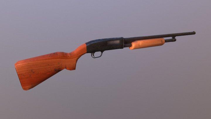 Low Poly Shotgun - PBR 3D Model