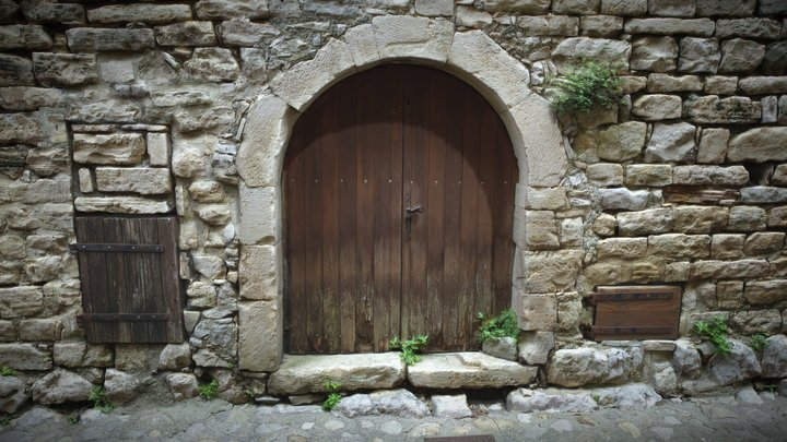 Old Brown Door And Stone Wall 3D Model