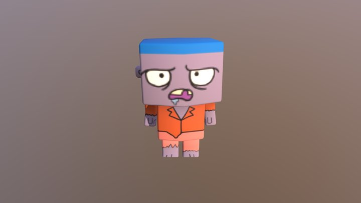 Cute Low Poly Zombie 3D Model