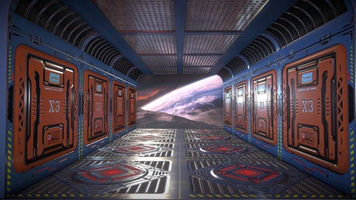 Sci Fi Spacestation Corridor 3D Model
