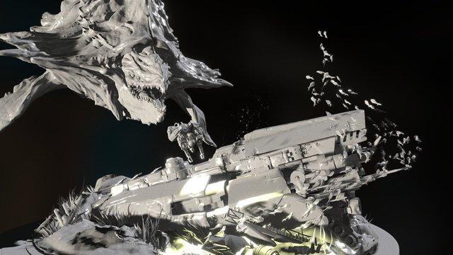 Alien whale - lowpoly (scene) 3D Model