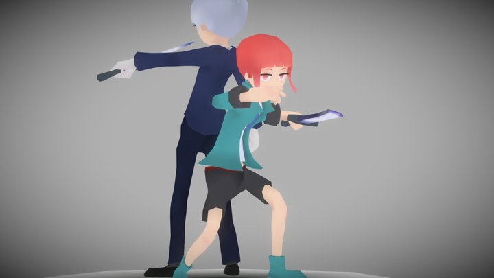 Alice and Riku 3D Model