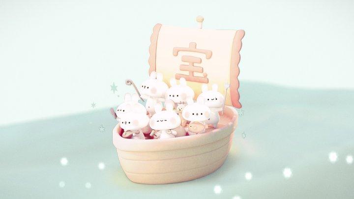 Usagi Shichifukujin -  Rabbit Seven Lucky Gods 3D Model