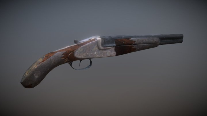 Sawed off Double Barrel Shotgun 3D Model