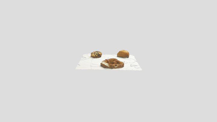 Dev // 3D Scan of pretzel doughnut & bun 3D Model