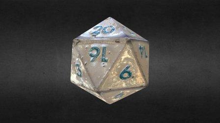 Old D20 Dice - enameled tin 3D Model