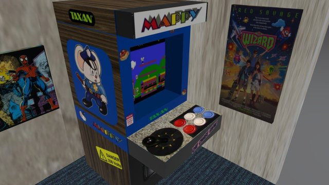 80s/90s Arcade Cabinet and Posters 3D Model