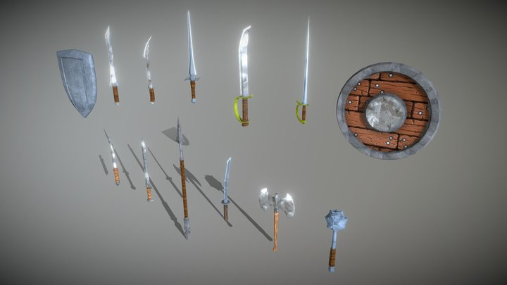 Low-Poly Medieval Weapon 3D Model