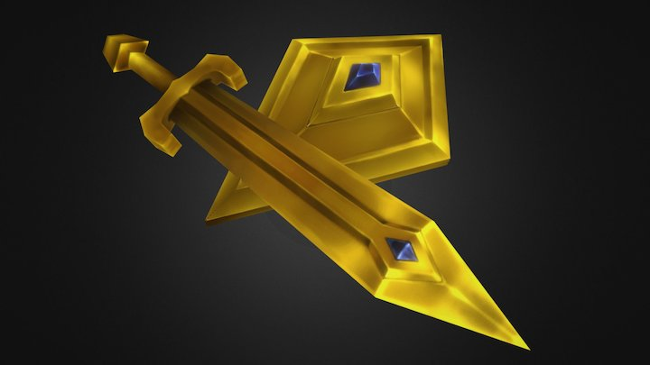 Personal project - Lowpoly Shield and Sword 3D Model
