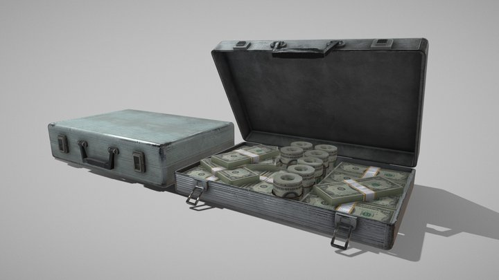 Case with money | Low poly 3D Model