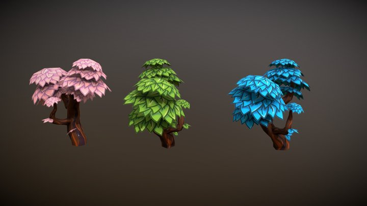 Set of hand painted low poly cartoon trees 3D Model