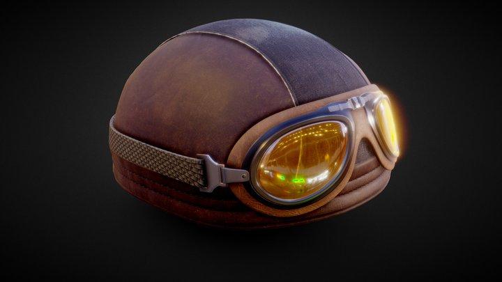 Leather Biker Helmet 3D Model