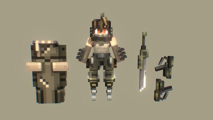 Minecraft Pixel Mecha Girl 3D Model