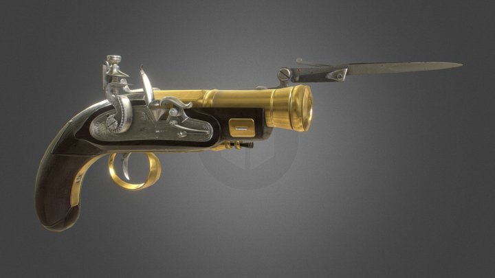Flintlock Pistol Game Asset 3D Model