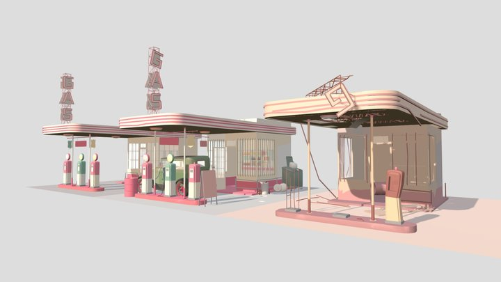 gas stations fixed 3D Model