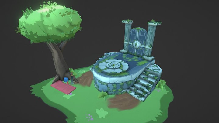 Overgrown entrance - Low Poly 3D Model