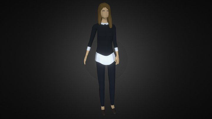 Low-poly Woman Casual 3 3D Model