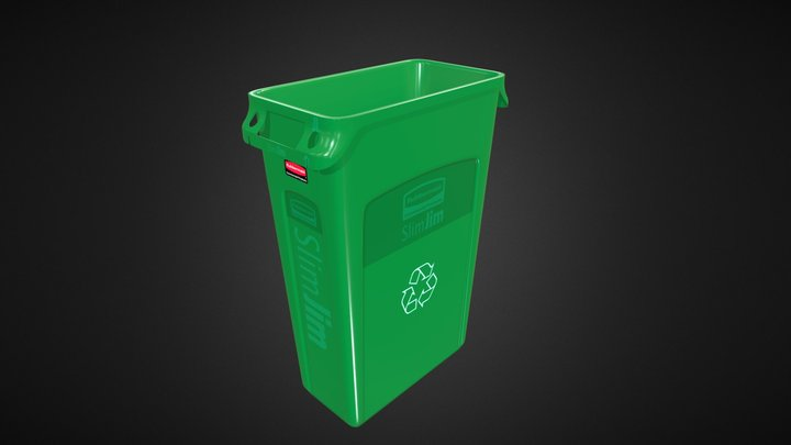 Rubbermaid Recycling Container 23 Gallon Green 3D Model