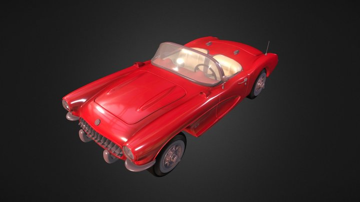 Chevrolet Corvette C1 1957 convertible car 3D Model