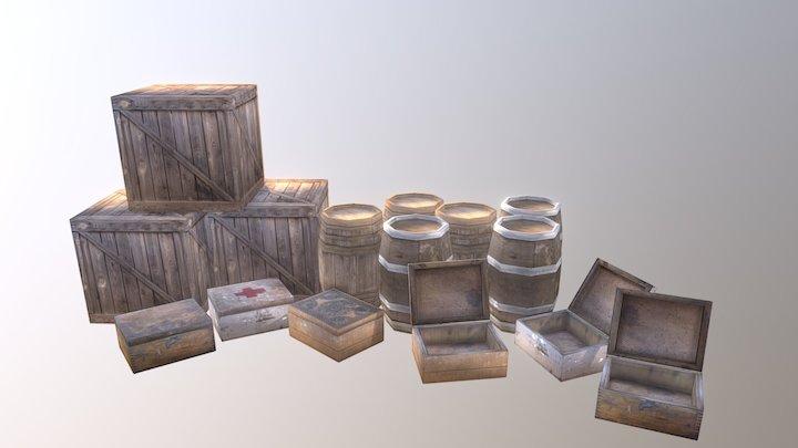 Wood Boxes 3D Model