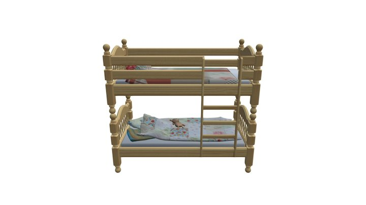 bunk-bed-childrens-with-toy-bear 3D Model