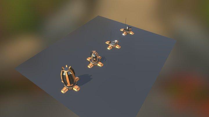 SciFi Turret Elements Set 7 3D Model