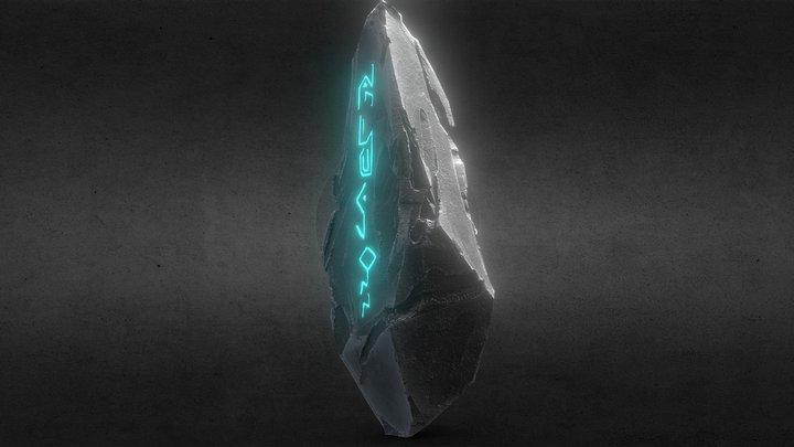 Low Poly Fantasy Rune Stone 3D Model
