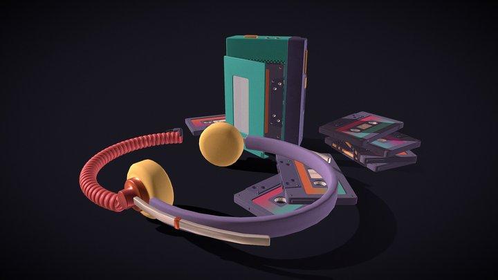 Retro Headphones and Cassettes 3D Model