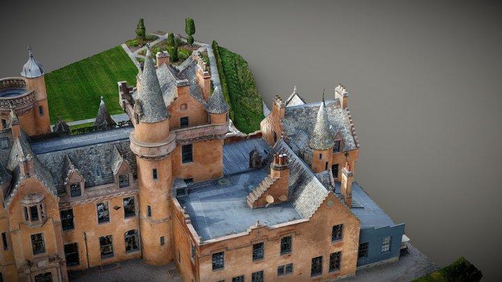 Aldourie Castle Scotland 3D model from drone 3D Model