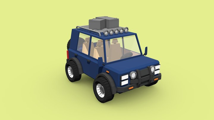 Low Poly jeep tracking 3D Model
