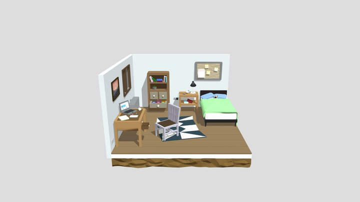 low_poly_isometric_room (1) 3D Model