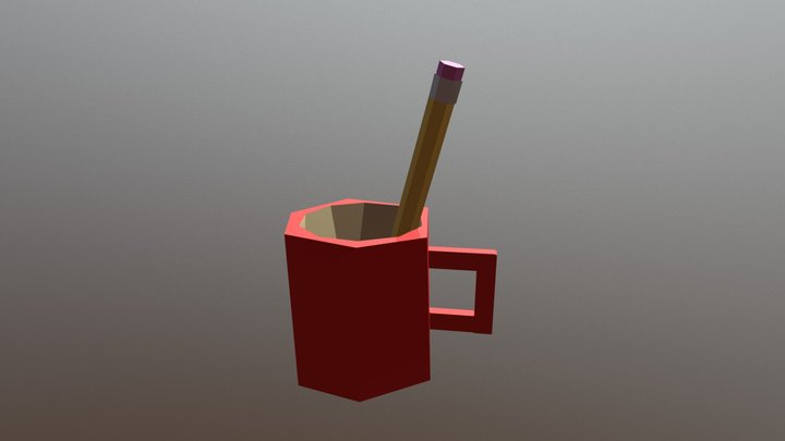 Mug with Pencil 3D Model