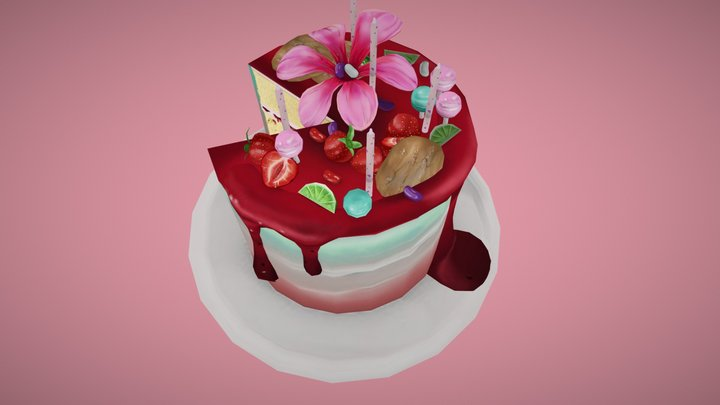 Strawberry daiquiri birthday cake 3D Model